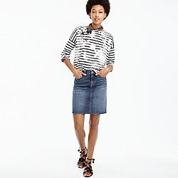 Petite denim skirt with raw hem