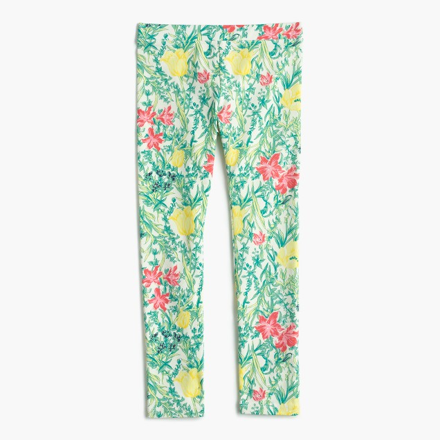 Girls' everyday leggings in botanical print