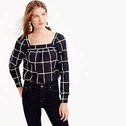 Pre-order Petite Penny windowpane top with cuffed sleeves