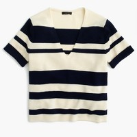 Wool striped short-sleeve V-neck sweater