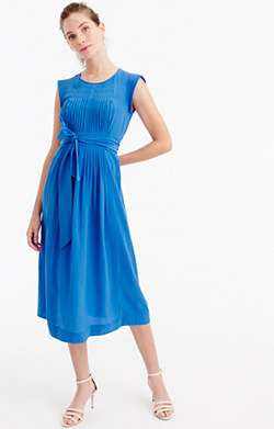 Silk midi dress with tie