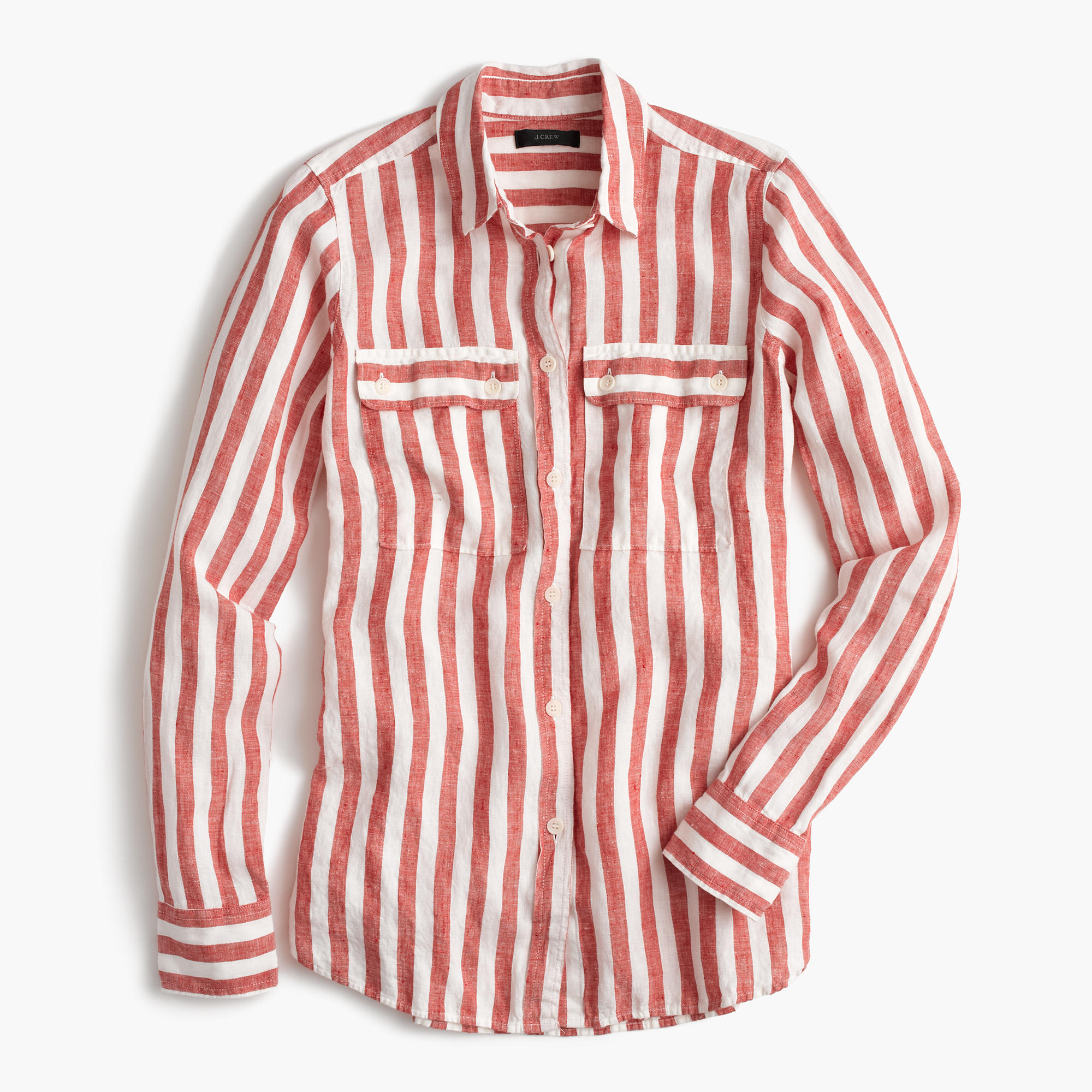 button up shirt in striped linen women button ups j crew