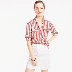 Petite button-up shirt in striped linen