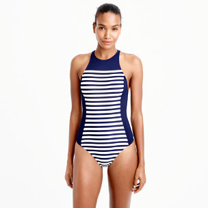 High-neck zip-back one-piece in colorblocked stripe