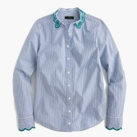 Tall striped perfect shirt with eyelet trim