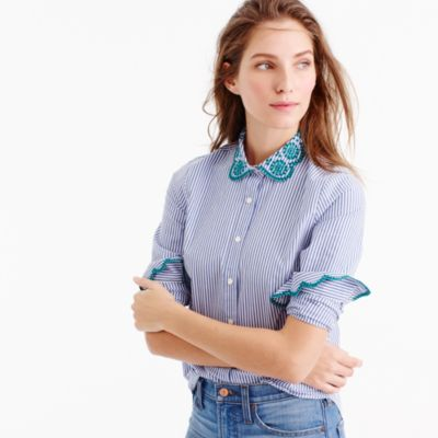 Petite striped perfect shirt with eyelet trim
