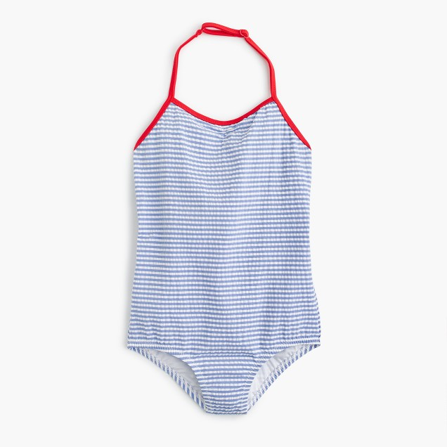 Girls' one-piece swimsuit in seersucker
