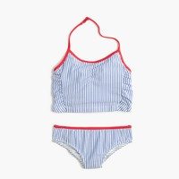 Girls' cropped tankini set in seersucker
