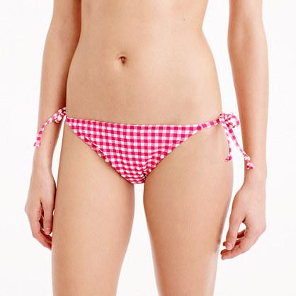 Gingham string bikini bottom
