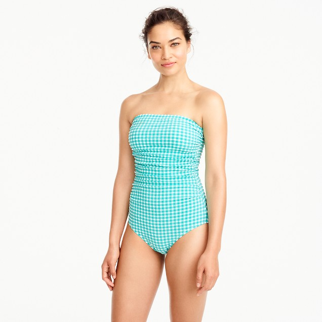 D-cup gingham ruched bandeau one-piece swimsuit
