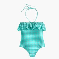 Gingham ruffle bandeau one-piece swimsuit