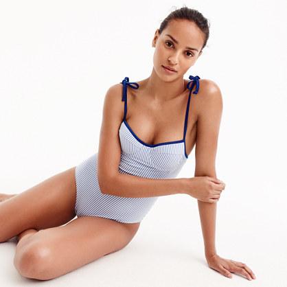 Tipped seersucker underwire shoulder-tie one-piece swimsuit