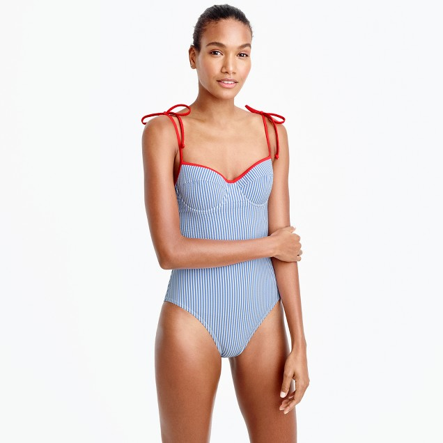 Long-torso tipped seersucker underwire shoulder-tie one-piece swimsuit