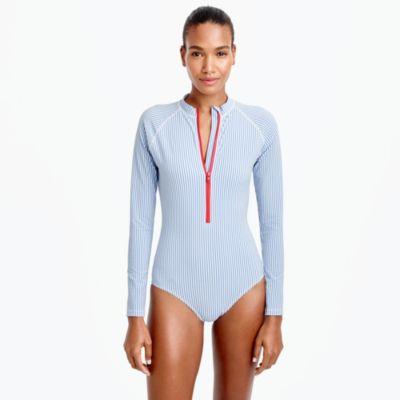 Long-sleeve one-piece swimsuit in seersucker