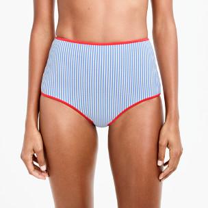 Tipped seersucker high-waisted bikini bottom