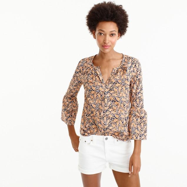 Drake's® for J.Crew bell-sleeve top in giraffe print