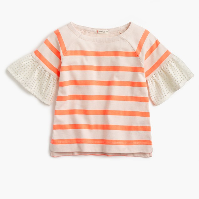 Girls' eyelet flutter-sleeve striped T-shirt