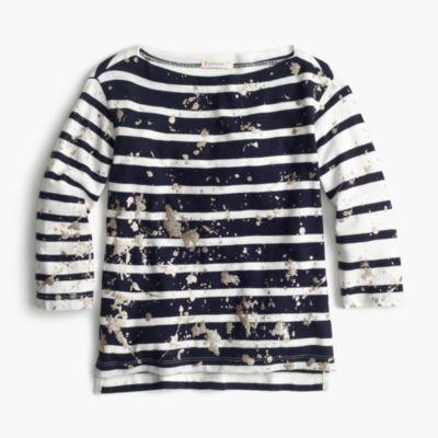 Splatter-paint striped T-shirt