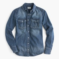Western chambray shirt in vintage indigo