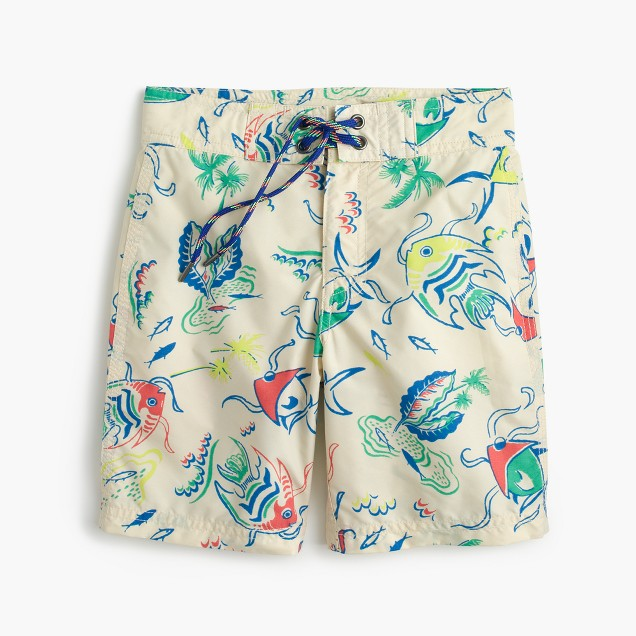 Boys' board short in tropical fish