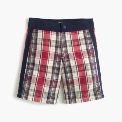 Boys' snap-front board short in madras