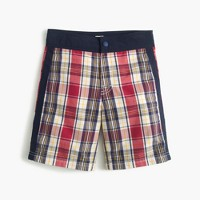 Boys' snap-front board short in madras