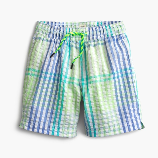 Boys' swim trunk in seersucker