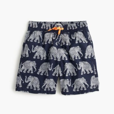 Boys' swim trunk in elephant print