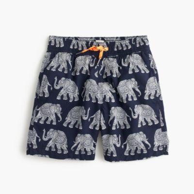 Boys' swim trunk in elephant print