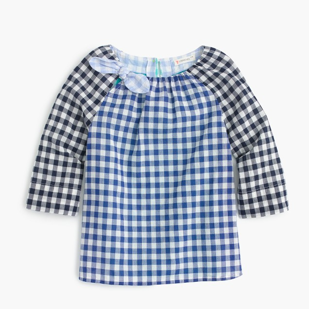 Girls' bow-neck top in gingham mash-up