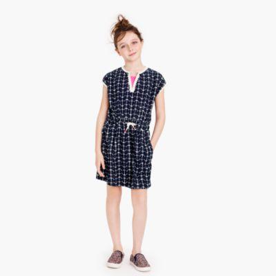 Girls' anchor-print terry dress