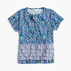 Girls' striped ruffle top in Liberty® floral