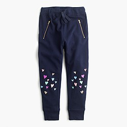 Girls' skinny-zip sweatpant with sequin hearts