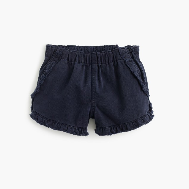 Girls' pull-on garment-dyed ruffle short