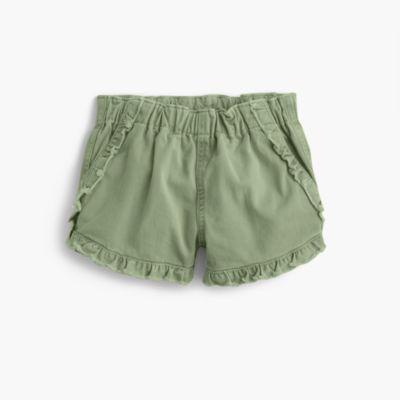 Girls' pull-on garment-dyed ruffle short
