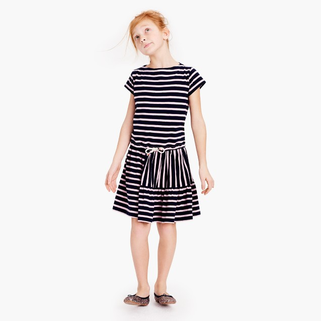 Girls' striped panel dress