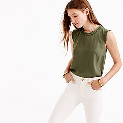 Tall drapey ruffle-trim top