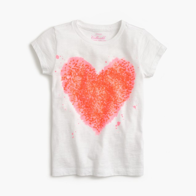 Girls' splatter sequin heart T-shirt