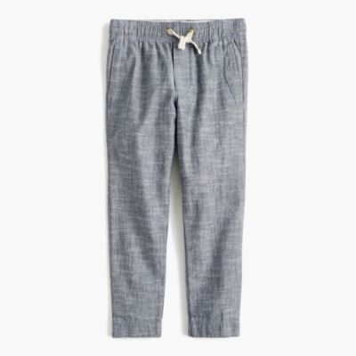 Boys' chambray pull-on pant with reinforced knees