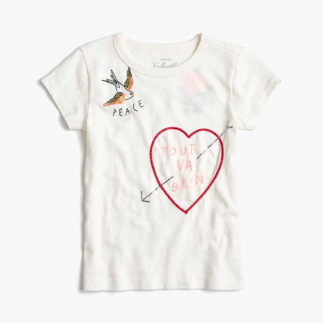 Girls' embroidered tattoo T-shirt