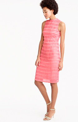 Sheath dress in fringy lace