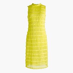Petite sheath dress in fringy lace