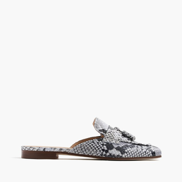 Charlie mules in snakeskin-printed leather