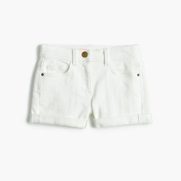 Girls' denim short in white