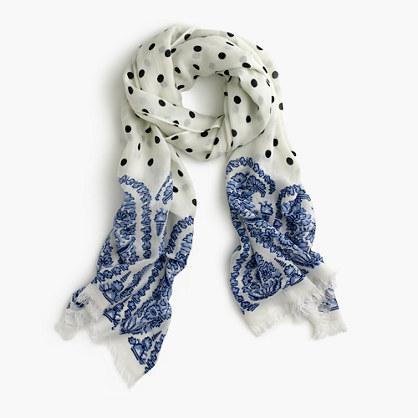 Polka-dot scarf with paisley trim