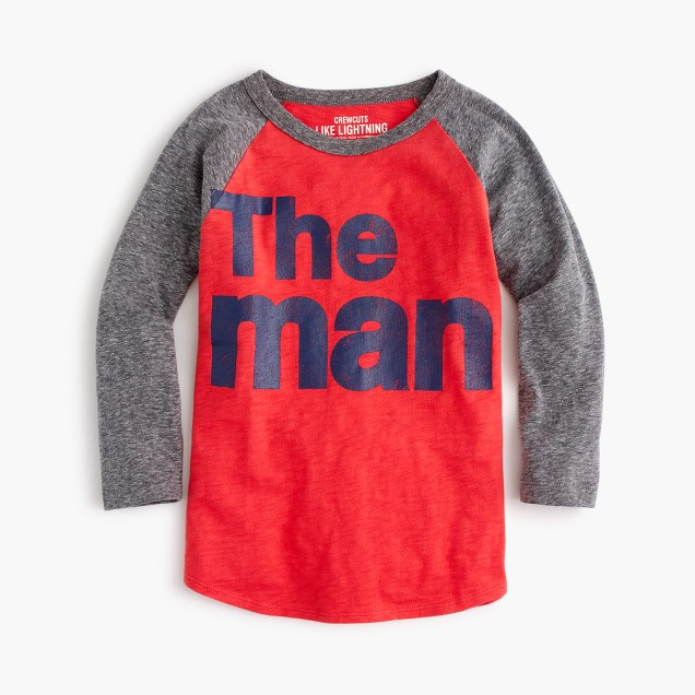 "Boys' three-quarter sleeve ""the man"" T-shirt in the softest jersey"