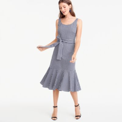 Tall gingham ruffle-hem dress