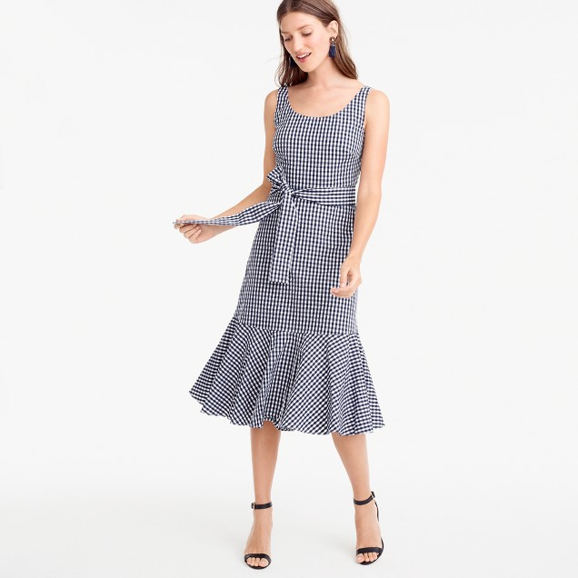 Petite gingham ruffle-hem dress