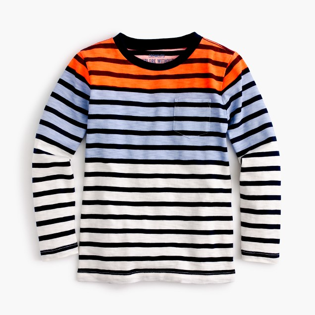 Boys' long-sleeve colorblock striped T-shirt