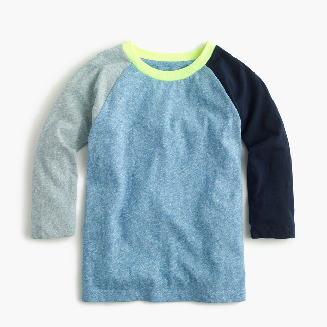 Boys' three-quarter sleeve baseball T-shirt in the softest jersey